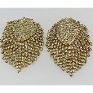 Rhinestone Mesh Gold Clip On Earrings